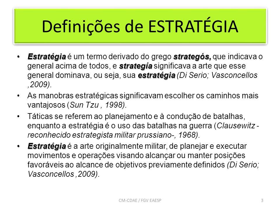 Definições de ESTRATÉGIA Estratégia strategós, strategía estratégiaEstratégia é um termo derivado do grego strategós, que indicava o general acima de todos, e strategía significava a arte que esse general dominava, ou seja, sua estratégia (Di Serio; Vasconcellos,2009).