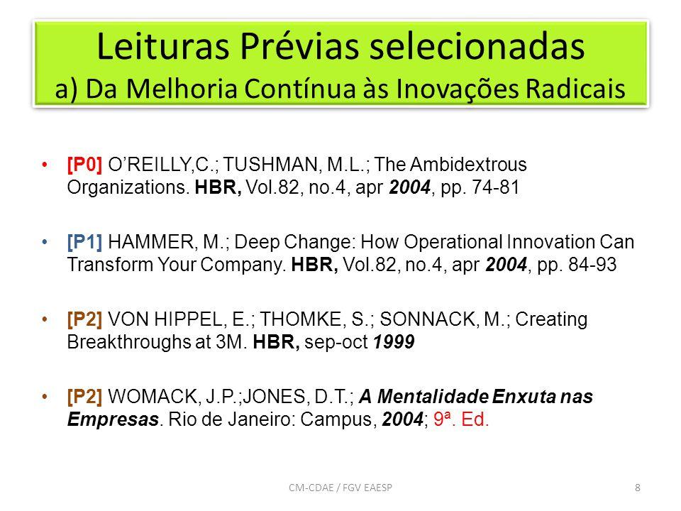 Leituras Prévias selecionadas a) Da Melhoria Contínua às Inovações Radicais 8CM-CDAE / FGV EAESP [P0] O'REILLY,C.; TUSHMAN, M.L.; The Ambidextrous Organizations.