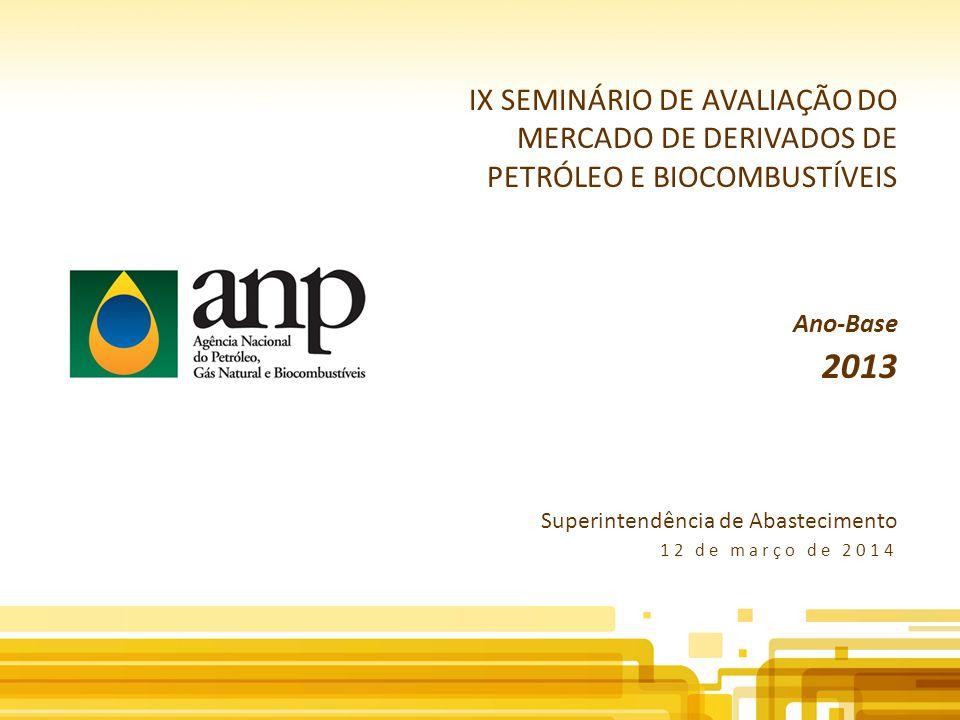 IX SEMINÁRIO DE AVALIAÇÃO DO MERCADO DE DERIVADOS DE PETRÓLEO E BIOCOMBUSTÍVEIS Ano-Base 2013 Superintendência de Abastecimento 12 de março de 2014