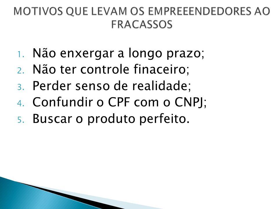 1. Não enxergar a longo prazo; 2. Não ter controle finaceiro; 3. Perder senso de realidade; 4. Confundir o CPF com o CNPJ; 5. Buscar o produto perfeit