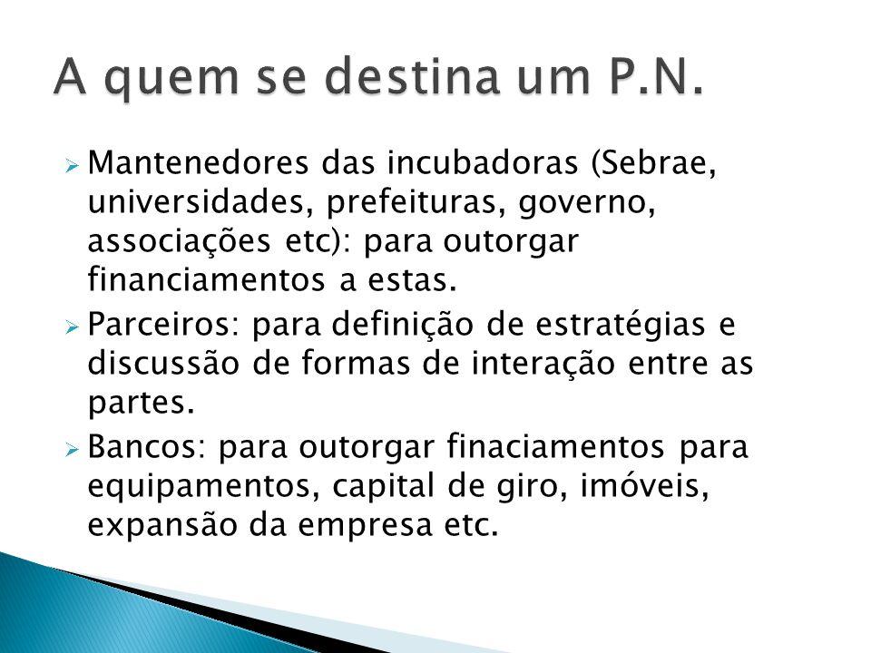  Mantenedores das incubadoras (Sebrae, universidades, prefeituras, governo, associações etc): para outorgar financiamentos a estas.  Parceiros: para