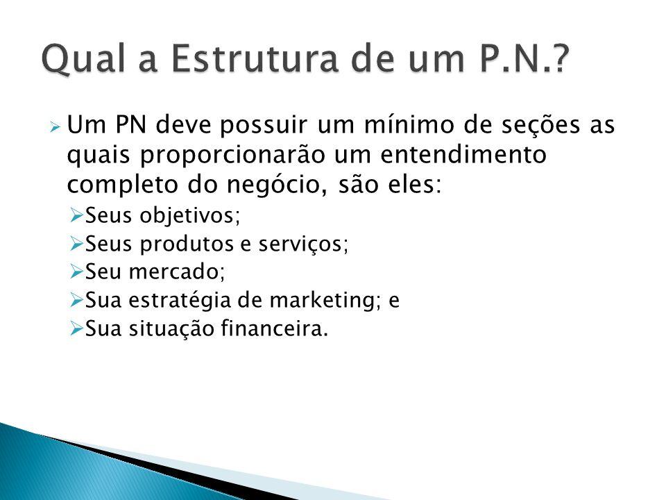  Um PN deve possuir um mínimo de seções as quais proporcionarão um entendimento completo do negócio, são eles:  Seus objetivos;  Seus produtos e serviços;  Seu mercado;  Sua estratégia de marketing; e  Sua situação financeira.
