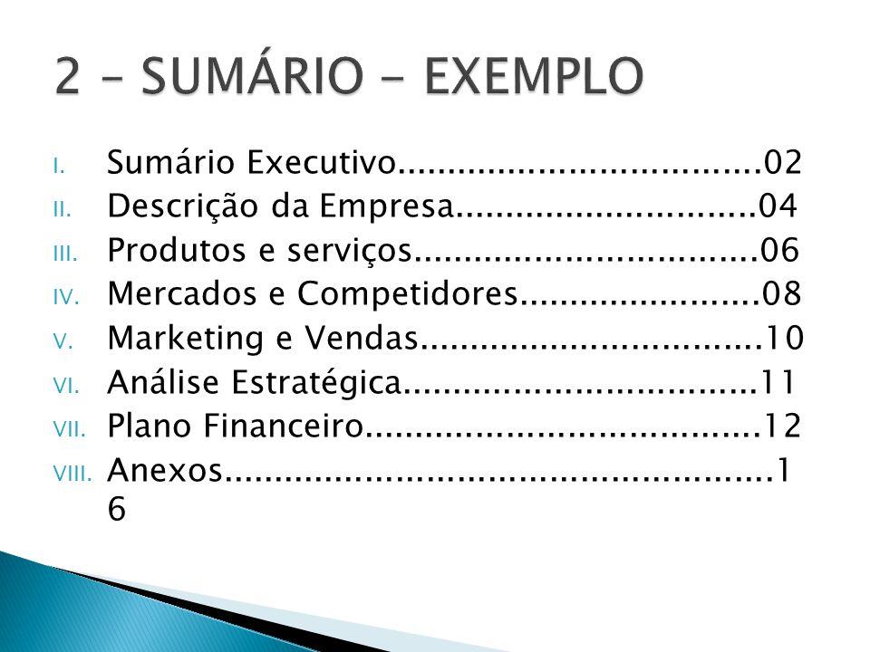 I. Sumário Executivo....................................02 II. Descrição da Empresa..............................04 III. Produtos e serviços..........