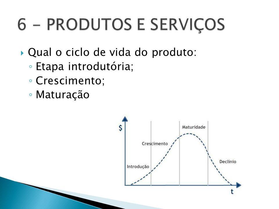  Qual o ciclo de vida do produto: ◦ Etapa introdutória; ◦ Crescimento; ◦ Maturação