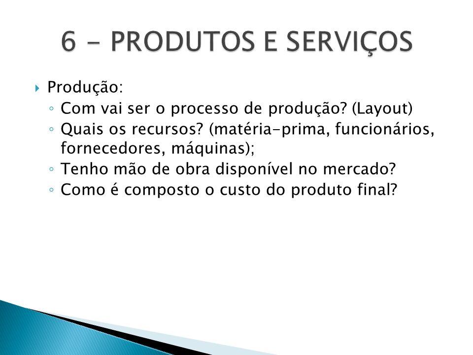  Produção: ◦ Com vai ser o processo de produção? (Layout) ◦ Quais os recursos? (matéria-prima, funcionários, fornecedores, máquinas); ◦ Tenho mão de