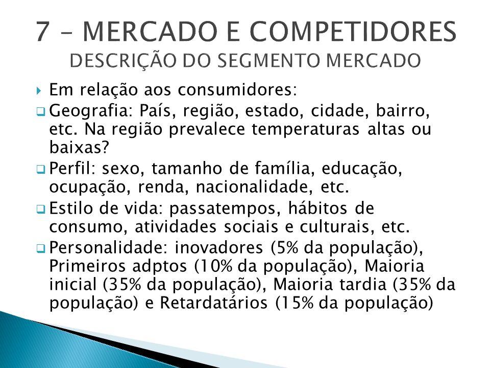  Em relação aos consumidores:  Geografia: País, região, estado, cidade, bairro, etc.