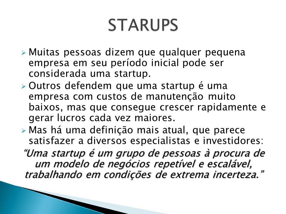  Muitas pessoas dizem que qualquer pequena empresa em seu período inicial pode ser considerada uma startup.  Outros defendem que uma startup é uma e