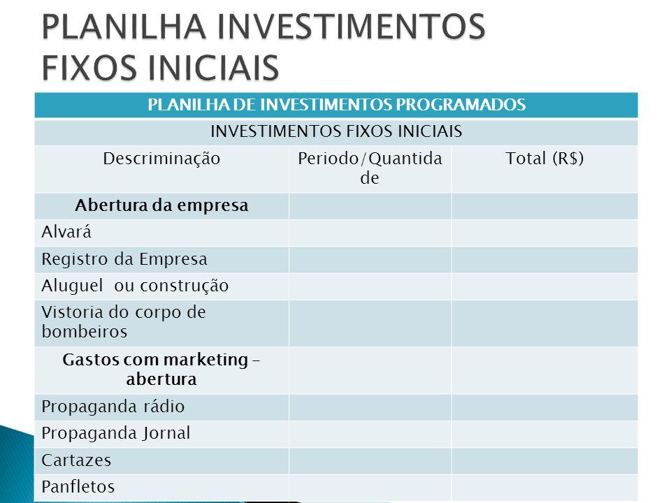 PLANILHA DE INVESTIMENTOS PROGRAMADOS INVESTIMENTOS FIXOS INICIAIS DescriminaçãoPeriodo/Quantida de Total (R$) Abertura da empresa Alvará Registro da