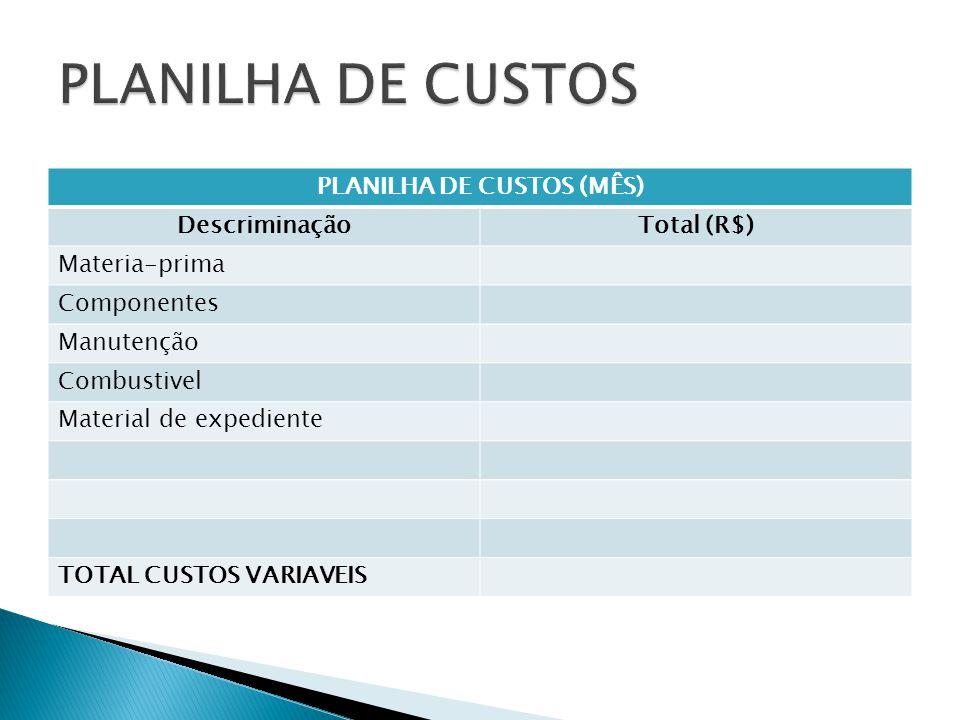 PLANILHA DE CUSTOS (MÊS) DescriminaçãoTotal (R$) Materia-prima Componentes Manutenção Combustivel Material de expediente TOTAL CUSTOS VARIAVEIS