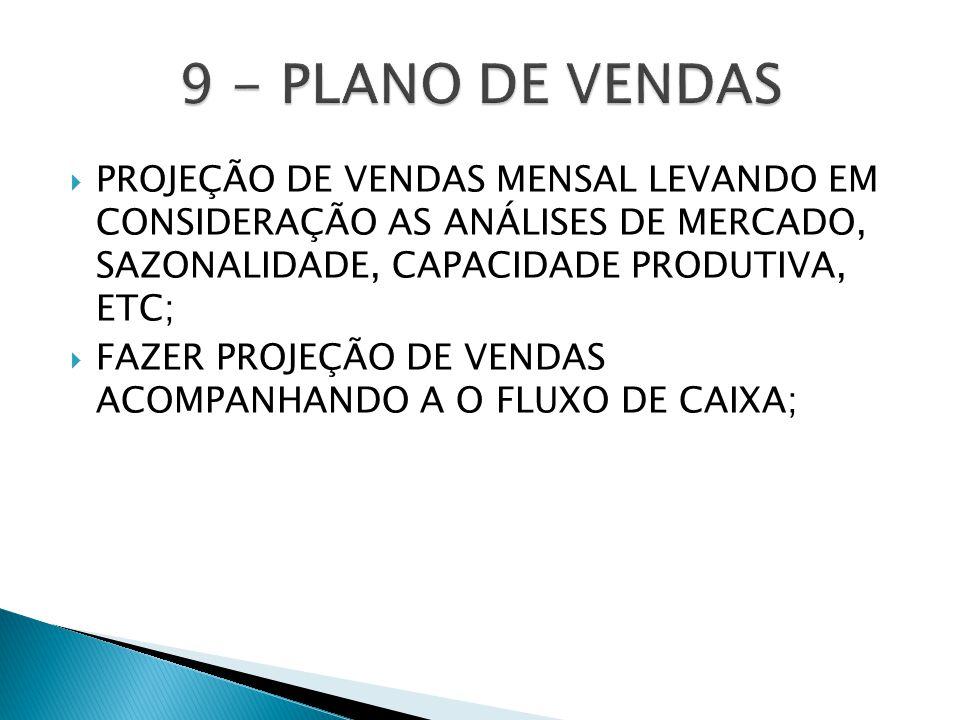  PROJEÇÃO DE VENDAS MENSAL LEVANDO EM CONSIDERAÇÃO AS ANÁLISES DE MERCADO, SAZONALIDADE, CAPACIDADE PRODUTIVA, ETC;  FAZER PROJEÇÃO DE VENDAS ACOMPANHANDO A O FLUXO DE CAIXA;