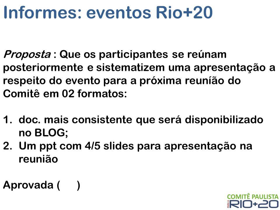 Informes: eventos Rio+20 Proposta : Que os participantes se reúnam posteriormente e sistematizem uma apresentação a respeito do evento para a próxima reuníão do Comitê em 02 formatos: 1.doc.