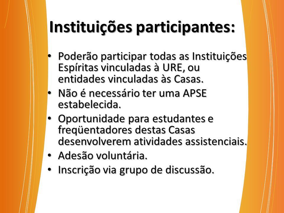 Instituições participantes: Poderão participar todas as Instituições Espíritas vinculadas à URE, ou entidades vinculadas às Casas. Poderão participar