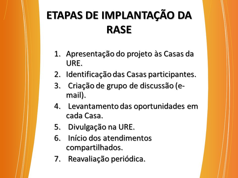 ETAPAS DE IMPLANTAÇÃO DA RASE 1.Apresentação do projeto às Casas da URE.