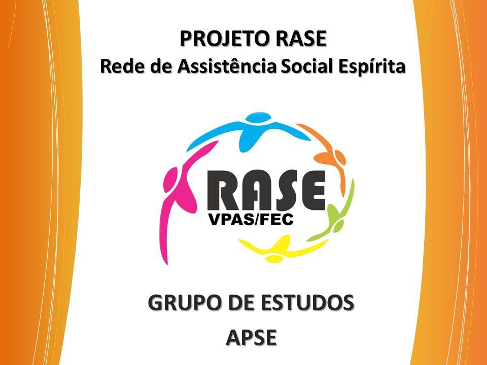 PROJETO RASE Rede de Assistência Social Espírita GRUPO DE ESTUDOS APSE