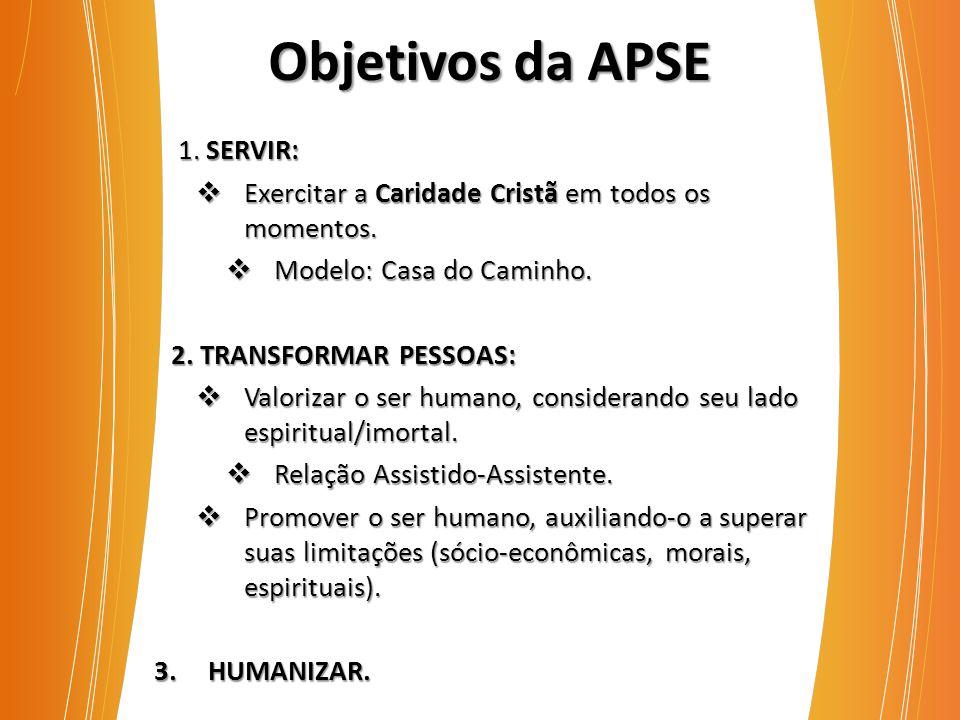 1. SERVIR: 1. SERVIR:  Exercitar a Caridade Cristã em todos os momentos.  Modelo: Casa do Caminho. 2. TRANSFORMAR PESSOAS:  Valorizar o ser humano,
