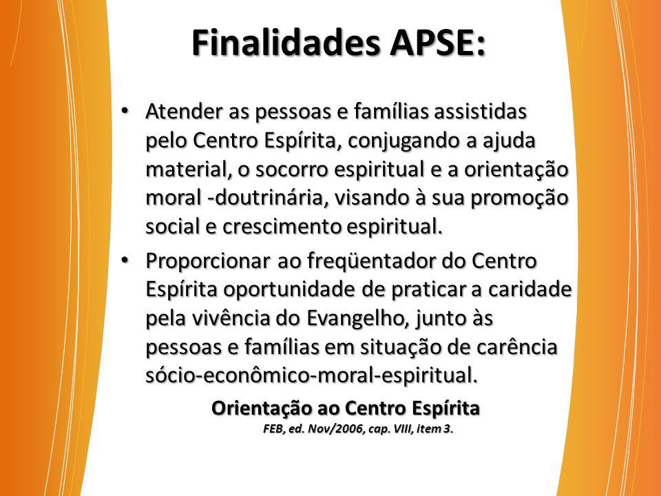 Finalidades APSE: Atender as pessoas e famílias assistidas pelo Centro Espírita, conjugando a ajuda material, o socorro espiritual e a orientação moral -doutrinária, visando à sua promoção social e crescimento espiritual.