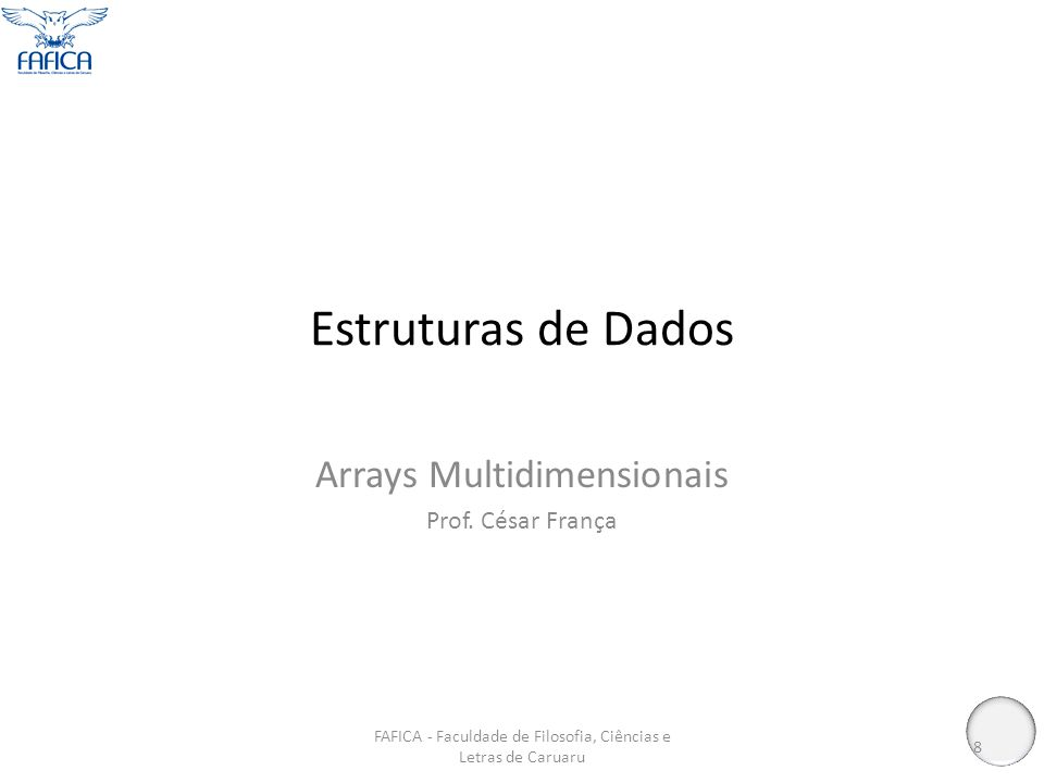 Estruturas de Dados Arrays Multidimensionais Prof.