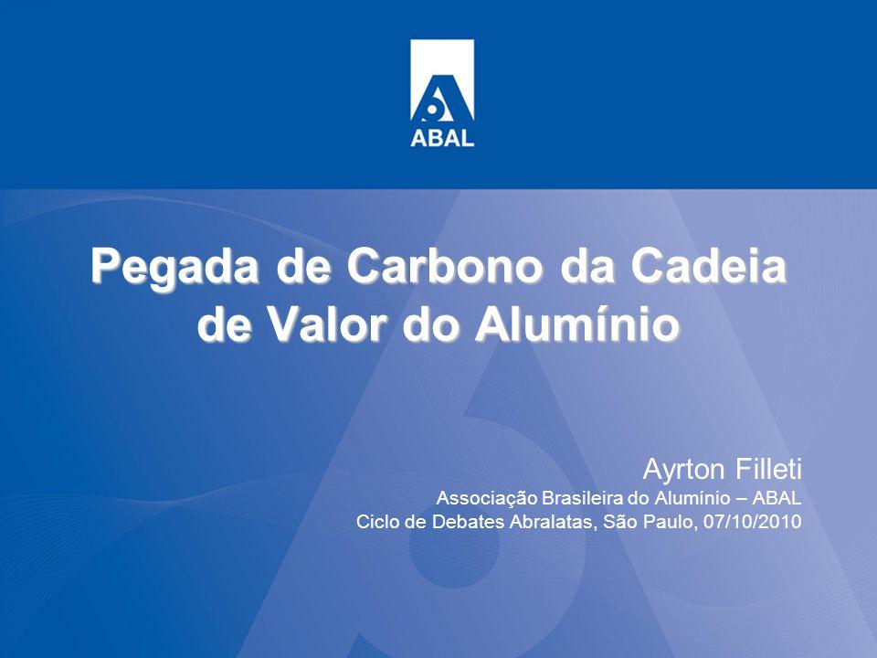 Pegada de Carbono da Cadeia de Valor do Alumínio Ayrton Filleti Associação Brasileira do Alumínio – ABAL Ciclo de Debates Abralatas, São Paulo, 07/10/