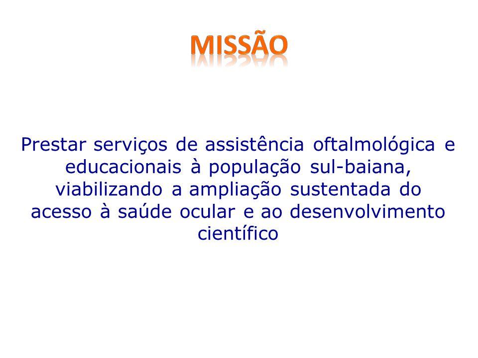 Prestar serviços de assistência oftalmológica e educacionais à população sul-baiana, viabilizando a ampliação sustentada do acesso à saúde ocular e ao desenvolvimento científico