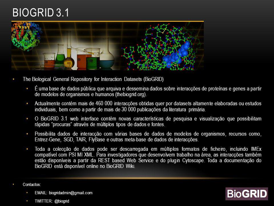 BIOGRID 3.1 The Biological General Repository for Interaction Datasets (BioGRID) É uma base de dados pública que arquiva e dessemina dados sobre interacções de proteínas e genes a partir de modelos de organismos e humanos (thebiogrid.org).