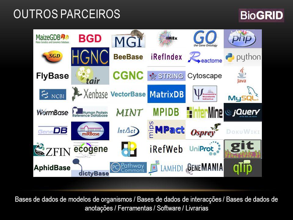 OUTROS PARCEIROS Bases de dados de modelos de organismos / Bases de dados de interacções / Bases de dados de anotações / Ferramentas / Software / Livrarias