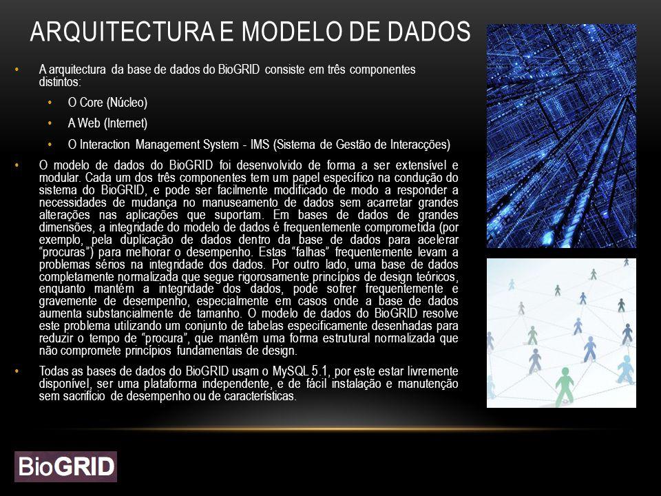 ARQUITECTURA E MODELO DE DADOS A arquitectura da base de dados do BioGRID consiste em três componentes distintos: O Core (Núcleo) A Web (Internet) O Interaction Management System - IMS (Sistema de Gestão de Interacções) O modelo de dados do BioGRID foi desenvolvido de forma a ser extensível e modular.