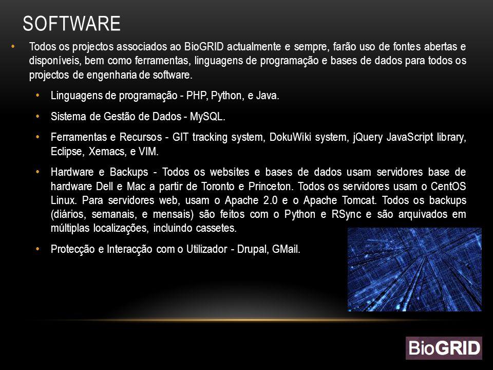 DESENVOL VIMENTO SOFTWARE Todos os projectos associados ao BioGRID actualmente e sempre, farão uso de fontes abertas e disponíveis, bem como ferramentas, linguagens de programação e bases de dados para todos os projectos de engenharia de software.