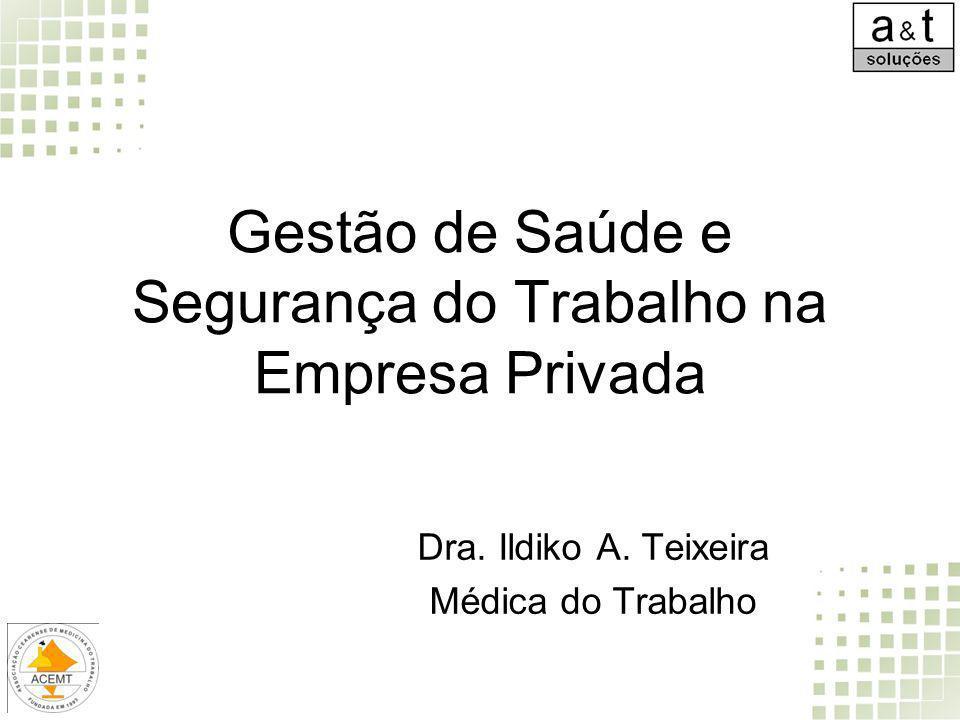 Gestão de Saúde e Segurança do Trabalho na Empresa Privada Dra. Ildiko A. Teixeira Médica do Trabalho