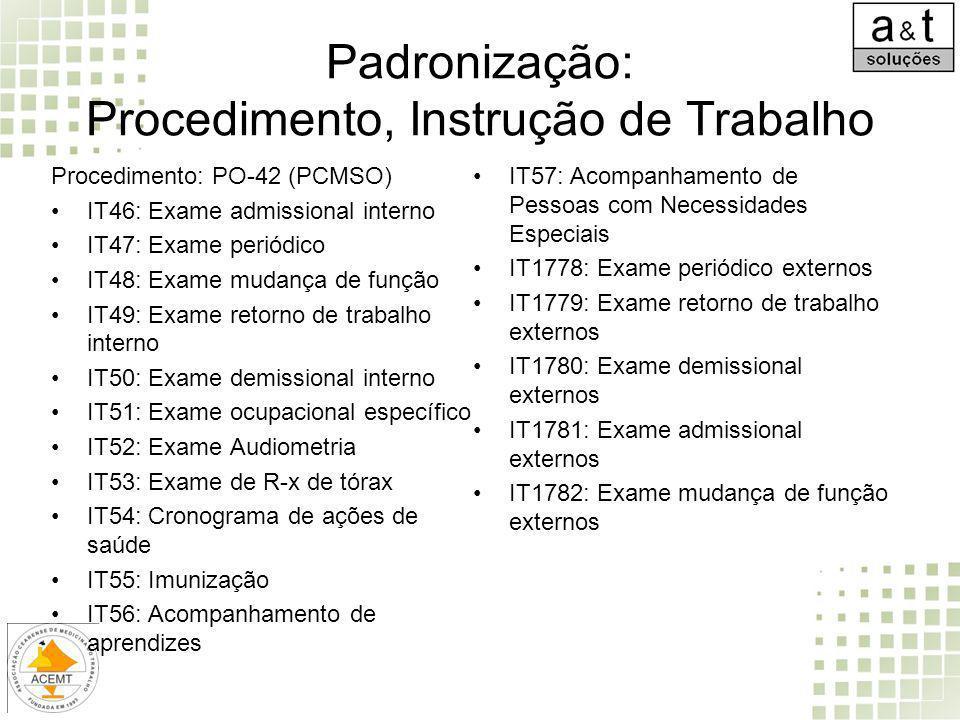 Padronização: Procedimento, Instrução de Trabalho Procedimento: PO-42 (PCMSO) IT46: Exame admissional interno IT47: Exame periódico IT48: Exame mudanç