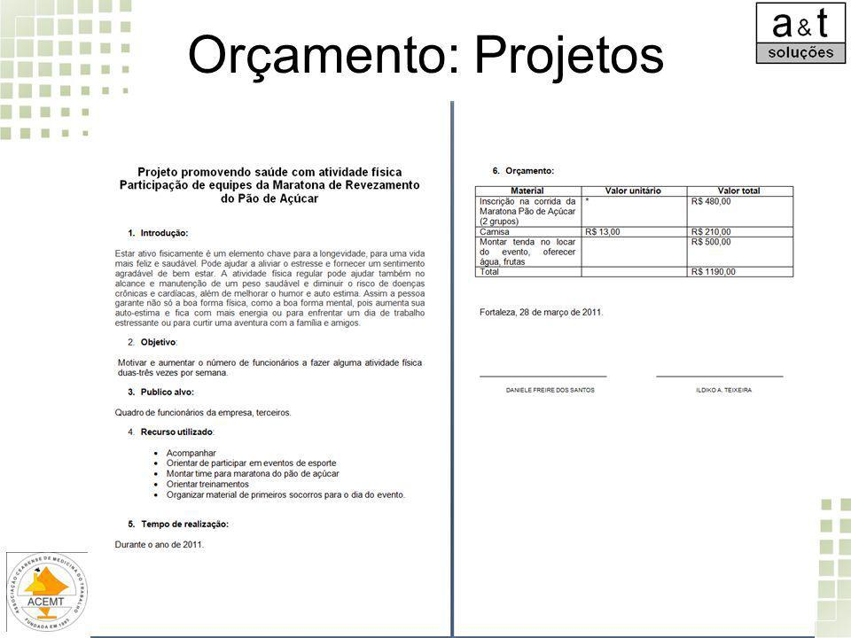 Orçamento: Projetos