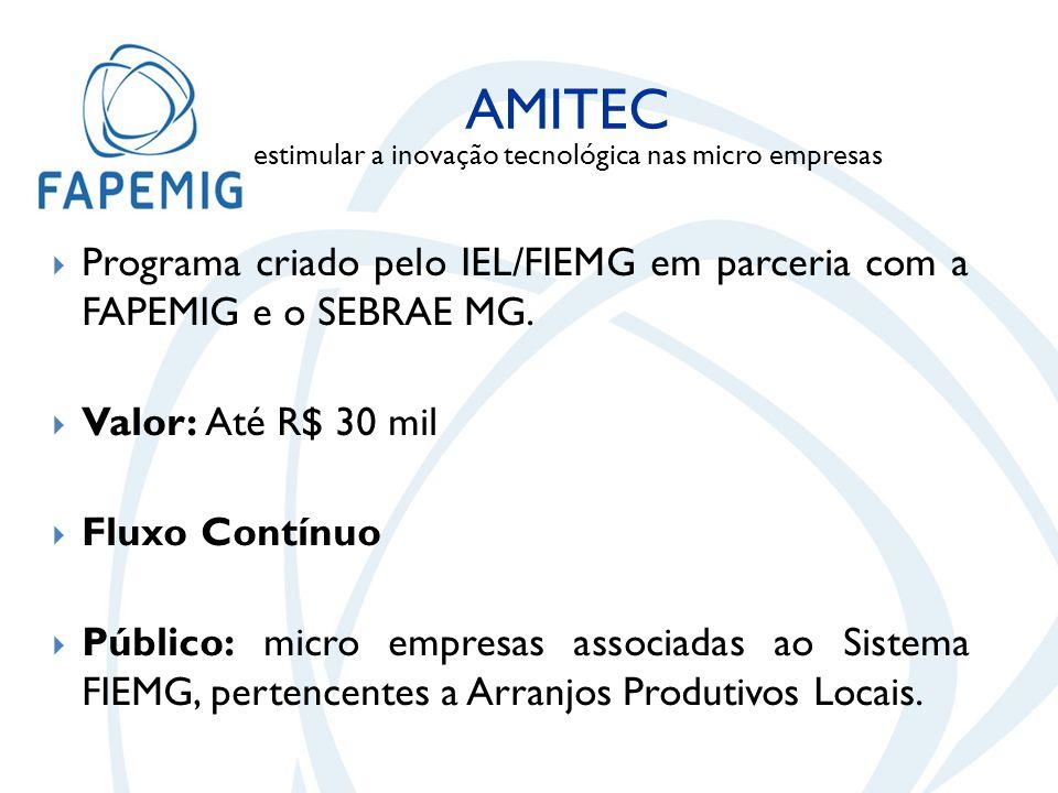  Programa criado pelo IEL/FIEMG em parceria com a FAPEMIG e o SEBRAE MG.