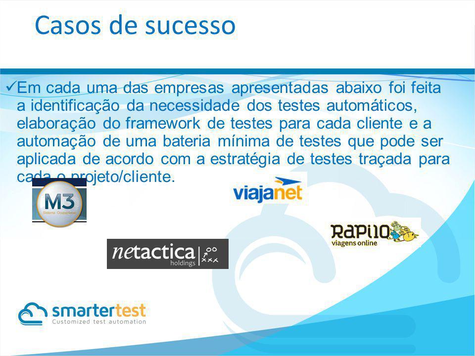 Em cada uma das empresas apresentadas abaixo foi feita a identificação da necessidade dos testes automáticos, elaboração do framework de testes para c