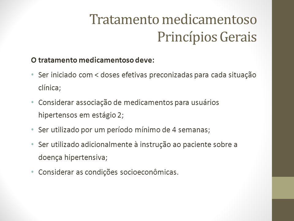 Tratamento medicamentoso Princípios Gerais O tratamento medicamentoso deve: Ser iniciado com < doses efetivas preconizadas para cada situação clínica;
