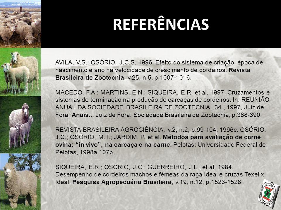 REFERÊNCIAS AVILA, V.S.; OSÓRIO, J.C.S. 1996.