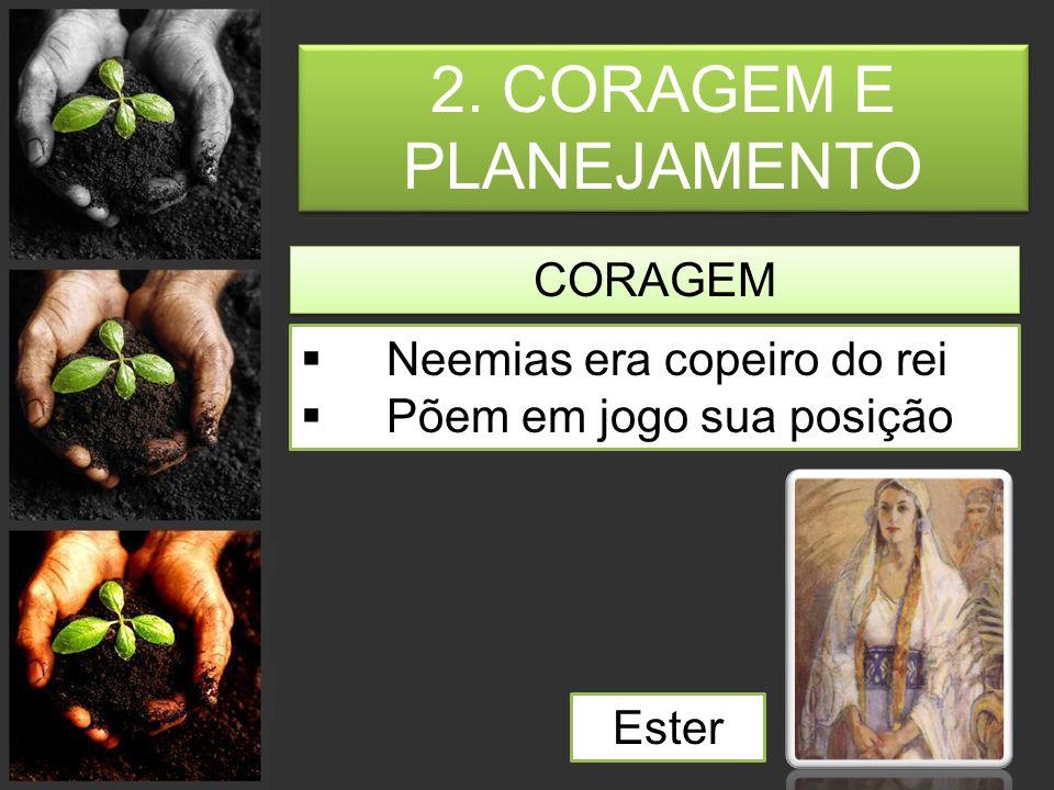 2. CORAGEM E PLANEJAMENTO CORAGEM  Neemias era copeiro do rei  Põem em jogo sua posição Ester