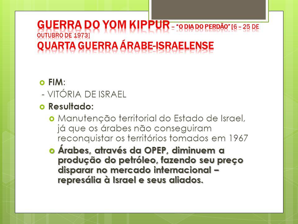  FIM : - VITÓRIA DE ISRAEL  Resultado:  Manutenção territorial do Estado de Israel, já que os árabes não conseguiram reconquistar os territórios to