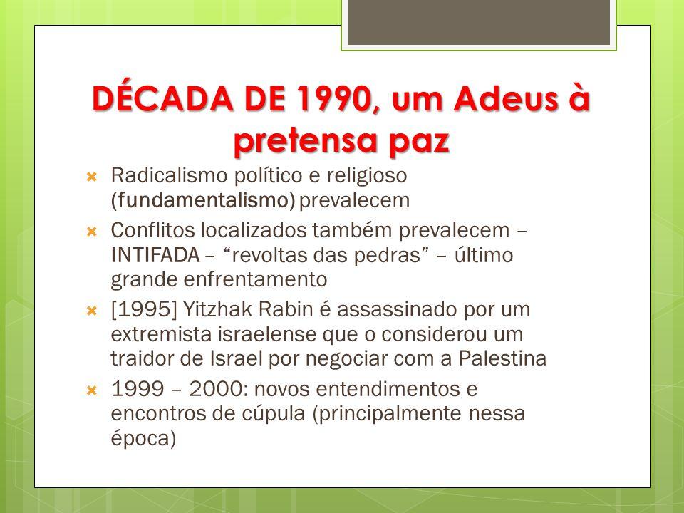 DÉCADA DE 1990, um Adeus à pretensa paz  Radicalismo político e religioso (fundamentalismo) prevalecem  Conflitos localizados também prevalecem – IN