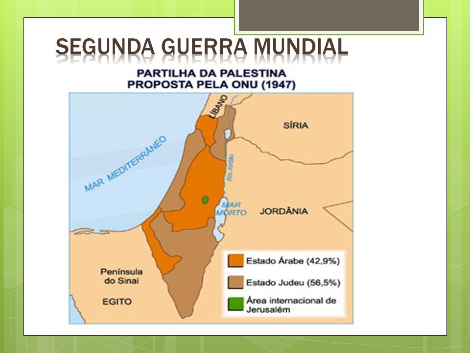 PÓS - GUERRA  1948  1948 : Ingleses se retiram do controle da Palestina  Criação do Estado de Israel, medida tomada pela ONU, pelo princípio de que os judeus, enfraquecidos pelas perseguições, tinham direito de posse de um território próprio  Palestinos se sentem prejudicados e obtém apoio de árabes do Egito, do Iraque, da Jordânia, do Líbano e da Síria