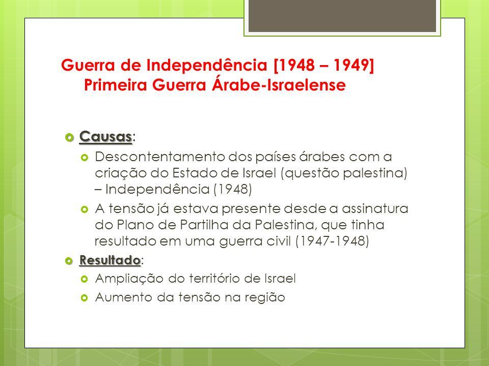  Causas  Causas :  Descontentamento dos países árabes com a criação do Estado de Israel (questão palestina) – Independência (1948)  A tensão já es