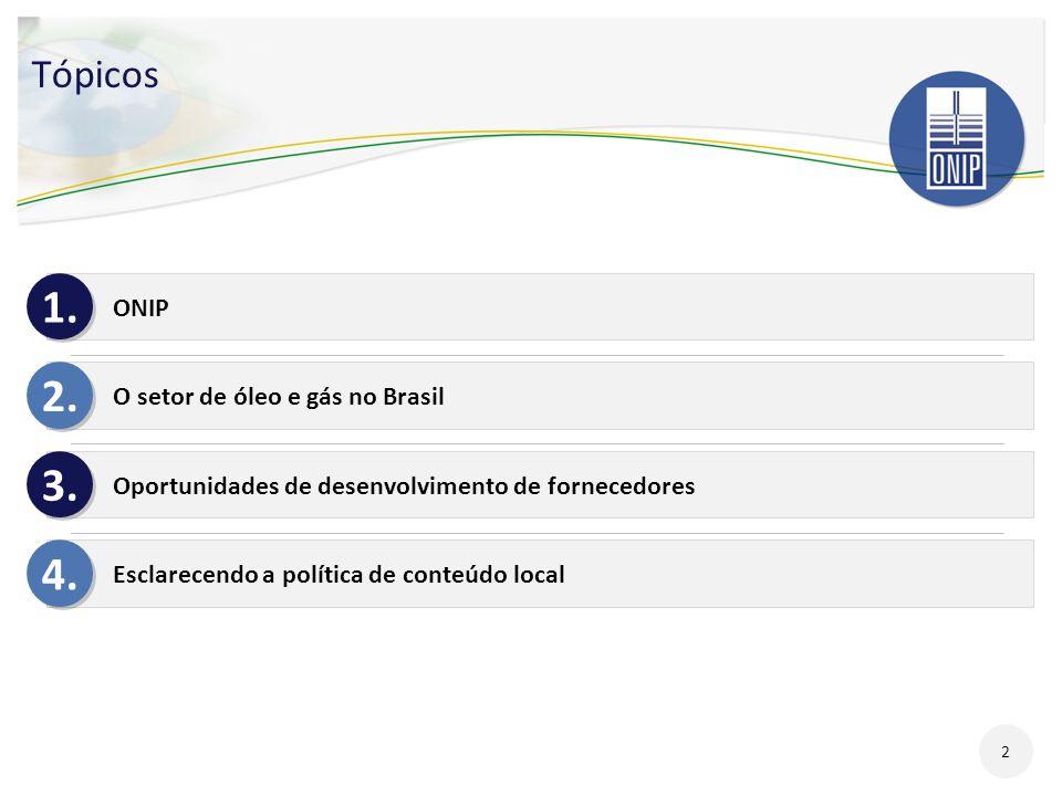 Tópicos ONIP O setor de óleo e gás no Brasil Oportunidades de desenvolvimento de fornecedores Esclarecendo a política de conteúdo local 1. 2. 3. 4. 2