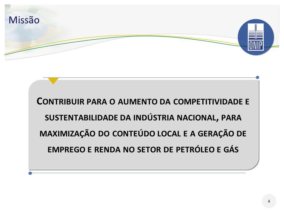 Visão Geral Estimativa de Investimentos (2011 - 2015) - US$ 270 bilhões Investimentos em E&P no Brasil (2011-2015) - US$ 151 bilhões 314 Áreas Exploratórias (144 onshore; 170 offshore) 78 Campos em Fase de Desenvolvimento da Produção (44 onshore; 34 offshore) 15
