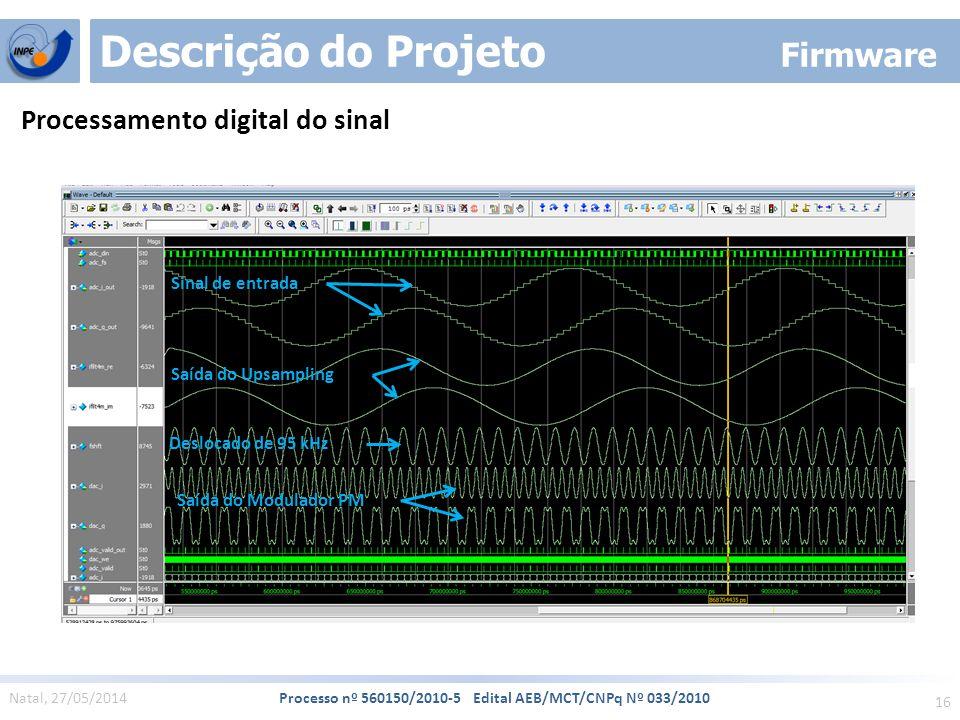 16 Natal, 27/05/2014 Processo nº 560150/2010-5 Edital AEB/MCT/CNPq Nº 033/2010 Descrição do Projeto Firmware Processamento digital do sinal Sinal de entrada Saída do Upsampling Deslocado de 95 kHz Saída do Modulador PM