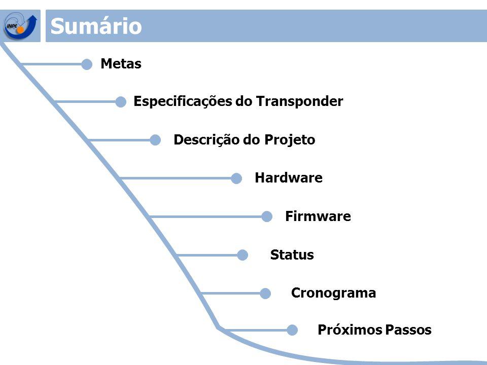 Metas Especificações do Transponder Descrição do Projeto Status Cronograma Sumário Próximos Passos Hardware Firmware