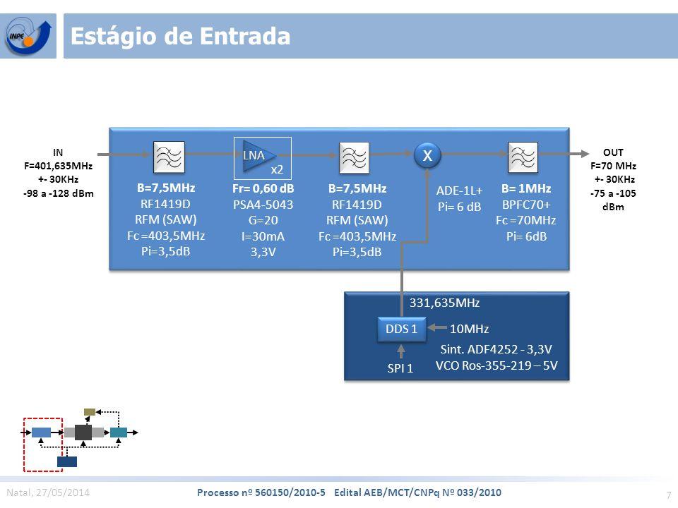 7 Natal, 27/05/2014 Processo nº 560150/2010-5 Edital AEB/MCT/CNPq Nº 033/2010 Estágio de Entrada IN F=401,635MHz +- 30KHz -98 a -128 dBm SPI 1 10MHz DDS 1 331,635MHz ADE-1L+ Pi= 6 dB X X B= 1MHz BPFC70+ Fc =70MHz Pi= 6dB OUT F=70 MHz +- 30KHz -75 a -105 dBm B=7,5MHz RF1419D RFM (SAW) Fc =403,5MHz Pi=3,5dB LNA LNA Fr= 0,60 dB PSA4-5043 G=20 I=30mA 3,3V x2 B=7,5MHz RF1419D RFM (SAW) Fc =403,5MHz Pi=3,5dB Sint.