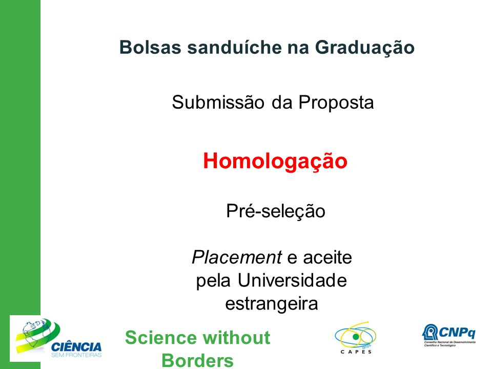 Science without Borders Submissão da Proposta Placement e aceite pela Universidade estrangeira Bolsas sanduíche na Graduação Homologação Pré-seleção