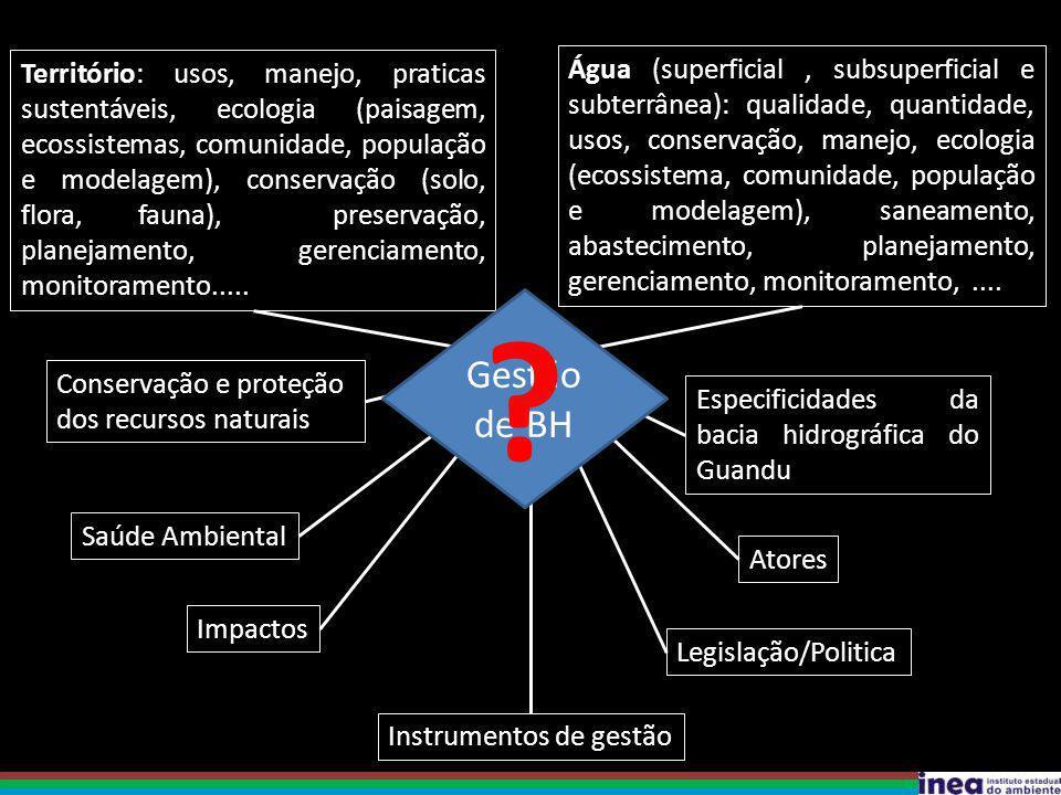 Água (superficial, subsuperficial e subterrânea): qualidade, quantidade, usos, conservação, manejo, ecologia (ecossistema, comunidade, população e mod