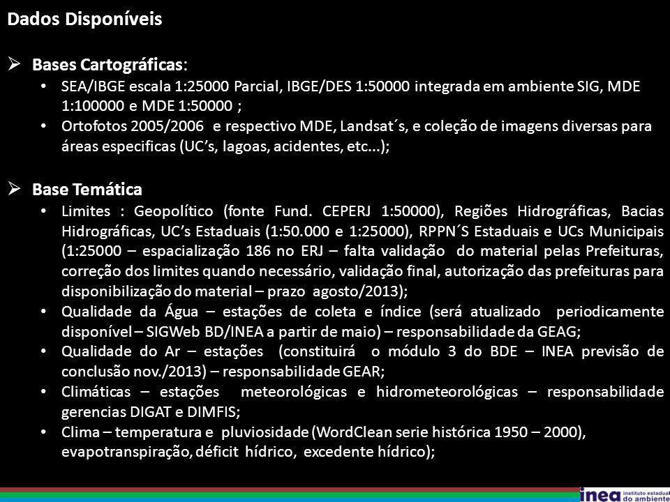 Dados Disponíveis  Bases Cartográficas: SEA/IBGE escala 1:25000 Parcial, IBGE/DES 1:50000 integrada em ambiente SIG, MDE 1:100000 e MDE 1:50000 ; Ortofotos 2005/2006 e respectivo MDE, Landsat´s, e coleção de imagens diversas para áreas especificas (UC's, lagoas, acidentes, etc...);  Base Temática Limites : Geopolítico (fonte Fund.