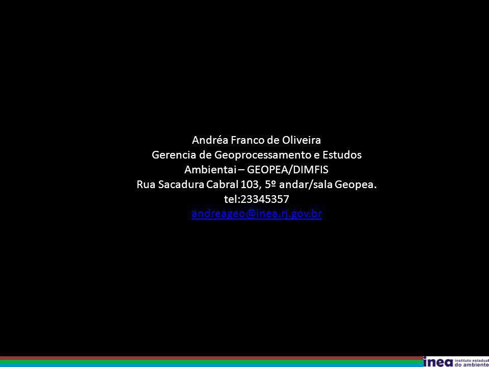 Andréa Franco de Oliveira Gerencia de Geoprocessamento e Estudos Ambientai – GEOPEA/DIMFIS Rua Sacadura Cabral 103, 5º andar/sala Geopea. tel:23345357