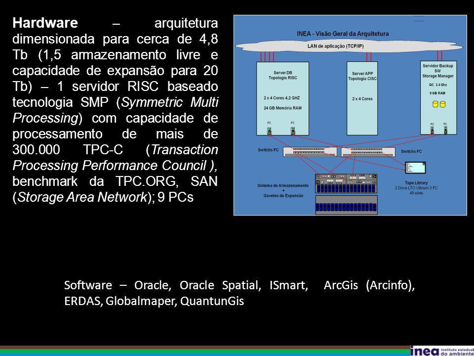 Hardware – arquitetura dimensionada para cerca de 4,8 Tb (1,5 armazenamento livre e capacidade de expansão para 20 Tb) – 1 servidor RISC baseado tecnologia SMP (Symmetric Multi Processing) com capacidade de processamento de mais de 300.000 TPC-C (Transaction Processing Performance Council ), benchmark da TPC.ORG, SAN (Storage Area Network); 9 PCs Software – Oracle, Oracle Spatial, ISmart, ArcGis (Arcinfo), ERDAS, Globalmaper, QuantunGis