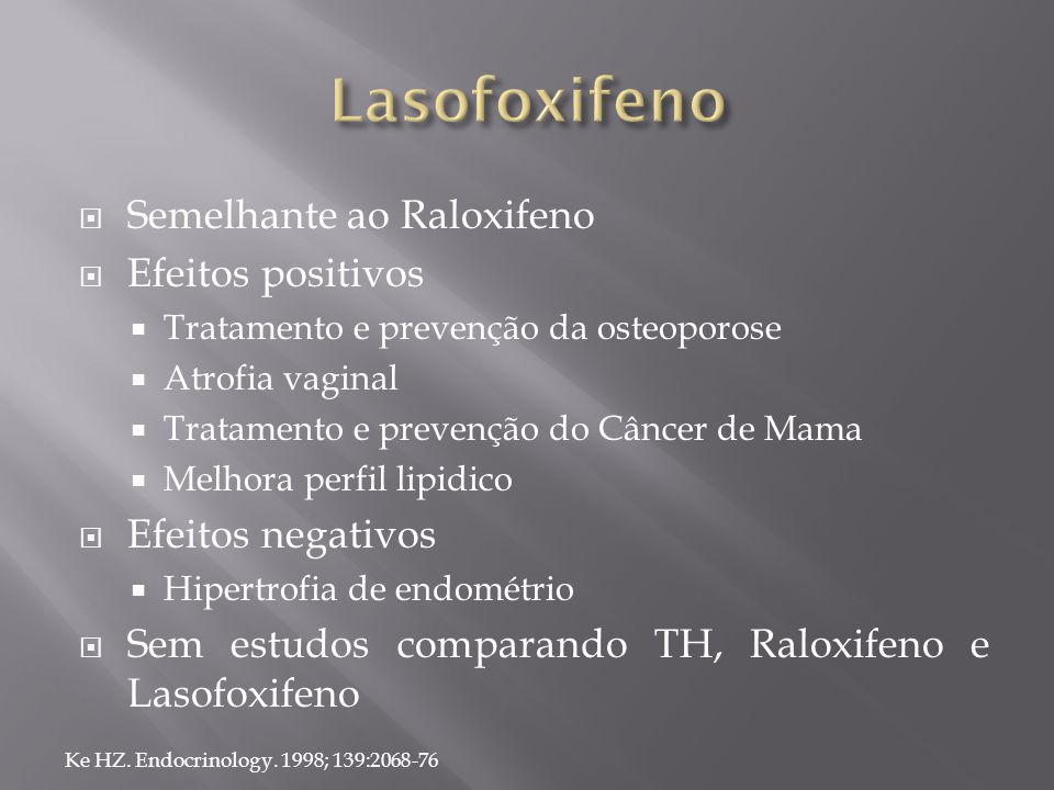  Semelhante ao Raloxifeno  Efeitos positivos  Tratamento e prevenção da osteoporose  Atrofia vaginal  Tratamento e prevenção do Câncer de Mama 